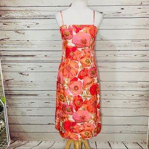 {ANN TAYLOR} 100% Silk Floral Long Slip Dress